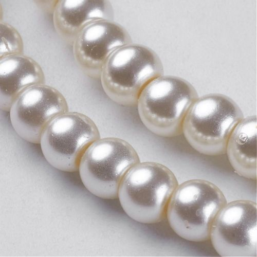 Glass Pearl Beads Cream/Ivory 4mm